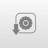 Symbol för kugghjuldownlägenhet Royaltyfri Bild