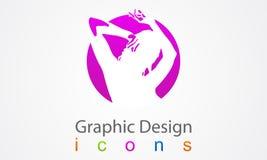 Symbol för kvinna för desizhn för flickahandomsorg grafisk Royaltyfri Bild