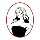 Symbol för kvinnatecknad filmstående Royaltyfria Bilder