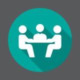 Symbol för lägenhet för affärsmöte Rund färgrik knapp, runt vektortecken med lång skuggaeffekt stock illustrationer