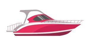 Symbol för lägenhet för vektor för Speedboad yacht- eller havskryssningsegelbåt stock illustrationer