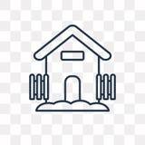 Symbol för lantgårdhusvektor som isoleras på genomskinlig bakgrund, linea royaltyfri illustrationer