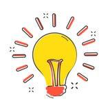 Symbol för lightbulb för vektortecknad filmhalogen i komisk stil vektor för lampa för illustration för kulabegreppsidé vektor illustrationer
