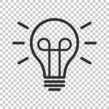 Symbol för ljus kula i plan stil Lightbulbvektorillustration på royaltyfri illustrationer