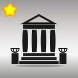 Symbol för logo för knapp för symbol för svart för bankbyggnad Vektor Illustrationer