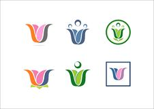 Symbol för logo för partner för lag för nätverk för yoga för lotusblomma för W-logoblomma social Royaltyfri Foto