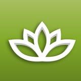 Symbol för Lotus blomma 3d på grön lutningbakgrund Wellness, brunnsort, yoga, skönhet och sunt livsstiltema vektor Arkivfoton