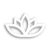 Symbol för Lotus blomma 3d på vit bakgrund Wellness, brunnsort, yoga, skönhet och sunt livsstiltema också vektor för coreldrawill Arkivbilder