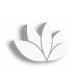 Symbol för Lotus blomma 3d på vit bakgrund Wellness, brunnsort, yoga, skönhet och sunt livsstiltema också vektor för coreldrawill Arkivbild