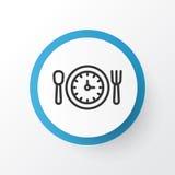 Symbol för lunchTid symbol Högvärdig kvalitet isolerad måltimmebeståndsdel i moderiktig stil Royaltyfri Bild