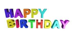 Symbol för lycklig födelsedag, tecken, bästa 3D illustration, bästa animering arkivfilmer