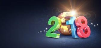 Symbol 2018 för lyckligt nytt år för hälsningkort Stock Illustrationer