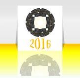 Symbol 2016 för lyckligt nytt år med calligraphic design på abstrakt bakgrund Royaltyfri Fotografi