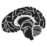 Symbol för mänsklig hjärna, enkel stil stock illustrationer