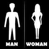 Symbol för man- och kvinnatoalettsymbol också vektor för coreldrawillustration Royaltyfri Bild