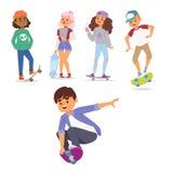 Symbol för manlig aktivitet för tecknad film för skridsko för illustration för ungar för skateboardteckenvektor stilfull åka skri stock illustrationer