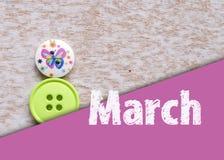 8 symbol för mars Diagramet av åtta gjorde av knappar Lycklig internationella kvinnors dagdesign Arkivfoto