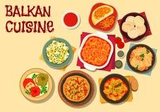 Symbol för matställe för Balkan kokkonst vegetarisk stock illustrationer