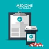 Symbol för medicinsk historia Läkarundersökning- och hälsovårddesign Vektorgra vektor illustrationer