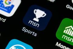 Symbol för Microsoft MSN sportapplikation på närbild för skärm för Apple iPhone X Symbol för app för Microsoft msnsportar Microso Fotografering för Bildbyråer