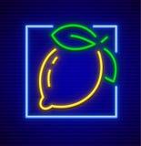 Symbol för neontecken med citronfrukt Royaltyfri Bild