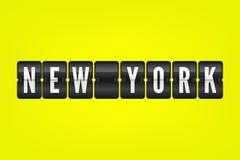 Symbol för New York amerikanskt stadsflip Vektorfunktionskortillustration Svartvitt flygplatstecken på gul bakgrund royaltyfri illustrationer
