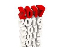 Symbol för nytt år 2017 överst av andra år Arkivfoton