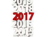 Symbol för nytt år 2017 överst av andra år Arkivfoto