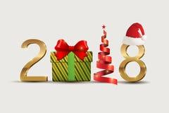 symbol för nytt år 2018 och julberöm Arkivbilder