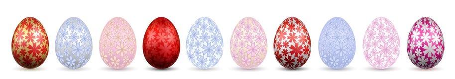 Symbol för påskägg 3D Färgägg uppsättning, isolerad vit bakgrund Pastellfärgad guld- blommadesign, lycklig påsk för garnering stock illustrationer