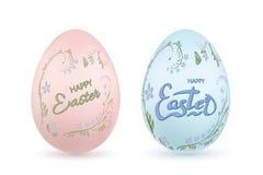 Symbol för påskägg 3D Pastellfärgade ägg ställde in, bokstäver, isolerad vit bakgrund illustration för design för bakgrundbakgrun stock illustrationer