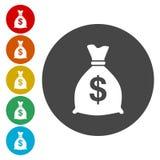 Symbol för pengarpåsetecken Symbol för dollarUSD valuta royaltyfri illustrationer