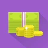 Symbol för plana pengar vektor illustrationer
