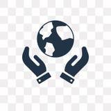 Symbol för planetjordvektor som isoleras på genomskinlig bakgrund, plommoner vektor illustrationer