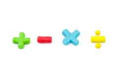 Symbol för plastellinamatematikoperatör (plus, negativ, multiplikation och Fotografering för Bildbyråer