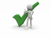 symbol för positive för grön man för tecknad film Royaltyfri Bild