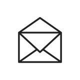 Symbol för postkuvertvektor Plan vektorillustration för Email E-mai Arkivbild