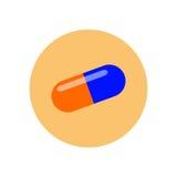 Symbol för preventivpillerkapsellägenhet Rund färgrik knapp, runt vektortecken för drog, logoillustration royaltyfri illustrationer