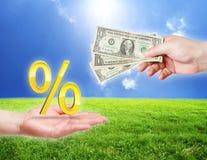 symbol för procentsats för handpengar Arkivbild