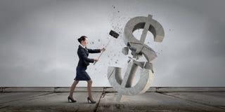 symbol för procentsats för pengar för bankrörelsebegreppshänder Arkivbild