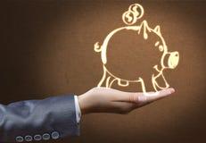 symbol för procentsats för pengar för bankrörelsebegreppshänder Arkivbilder