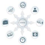symbol för procentsats för pengar för bankrörelsebegreppshänder royaltyfri illustrationer