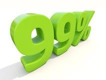 symbol för 99% procentsatshastighet på en vit bakgrund Royaltyfri Fotografi