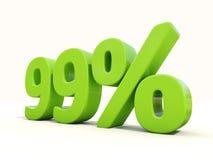 symbol för 99% procentsatshastighet på en vit bakgrund Arkivfoto