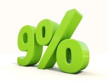 symbol för 9% procentsatshastighet på en vit bakgrund Royaltyfri Fotografi