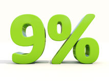 symbol för 9% procentsatshastighet på en vit bakgrund Royaltyfri Bild