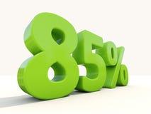 symbol för 85% procentsatshastighet på en vit bakgrund Fotografering för Bildbyråer