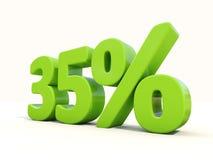 symbol för 35% procentsatshastighet på en vit bakgrund Royaltyfri Foto