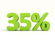 symbol för 35% procentsatshastighet på en vit bakgrund Arkivbilder