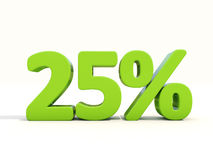 symbol för 25% procentsatshastighet på en vit bakgrund Arkivfoton